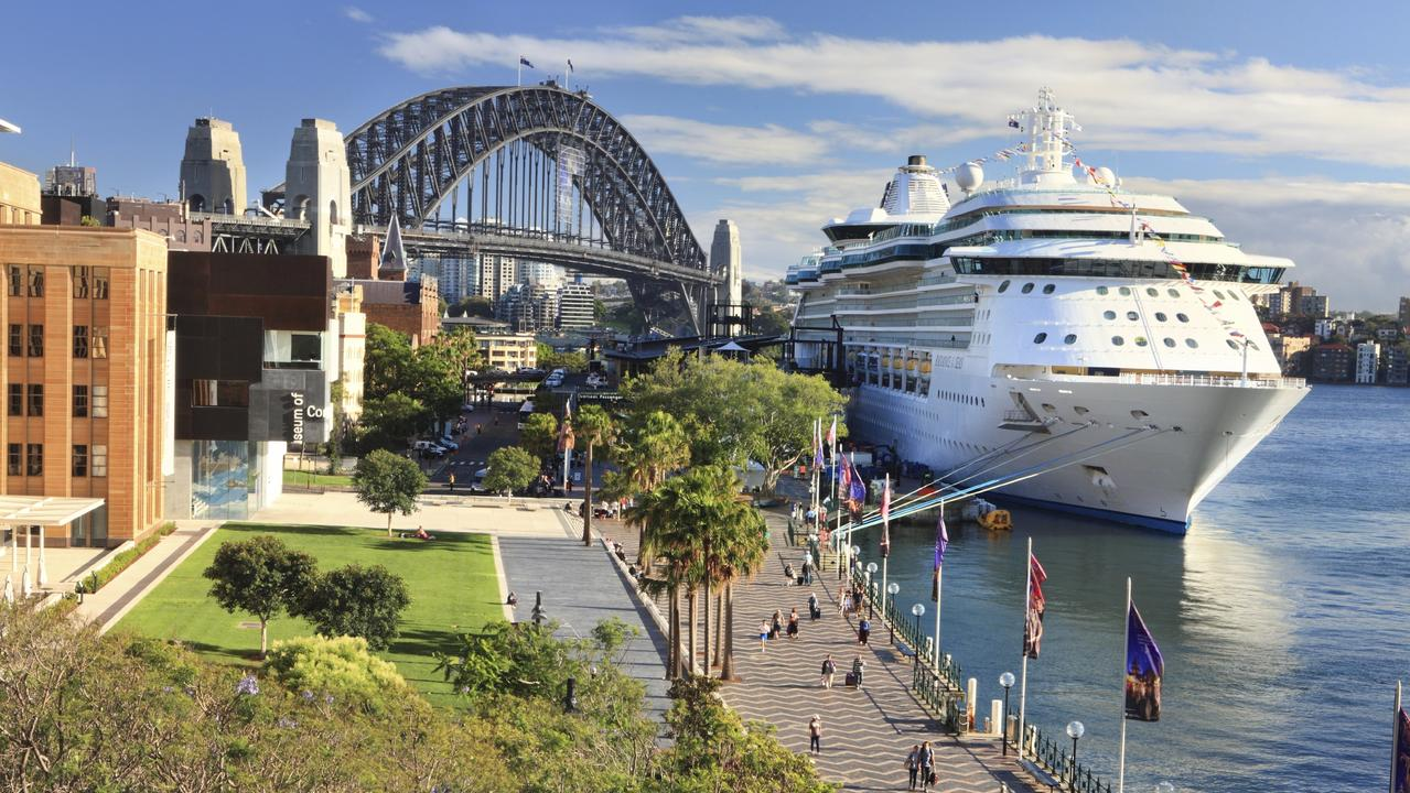 Luxury cruise liner, Radiance of the Seas, docked at Circular Quay. Picture: istock