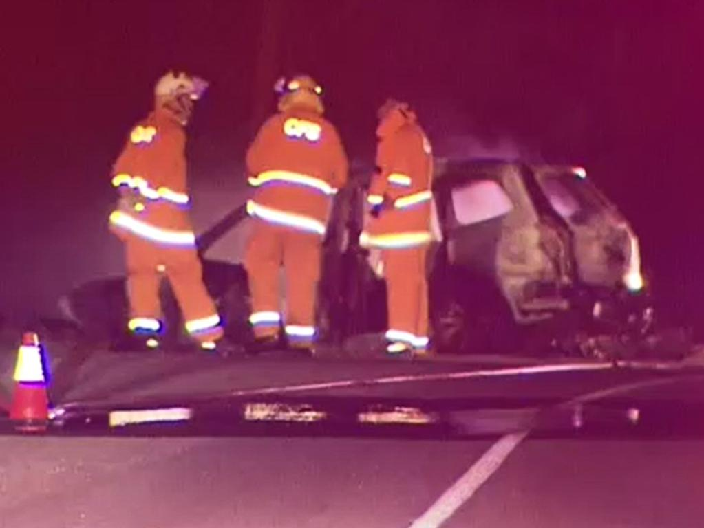 Emergency services were called to the scene along South Bokara Rd just after 9.15pm on Wednesday. Picture: Supplied/9 News