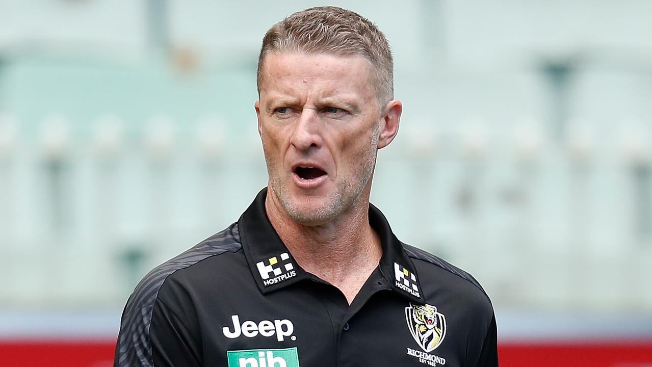 MELBOURNE, AUSTRALIA - MARCH 28: Damien Hardwick, Senior Coach of the Tigers looks on during the 2021 AFL Round 02 match between the Hawthorn Hawks and the Richmond Tigers at the Melbourne Cricket Ground on March 28, 2021 in Melbourne, Australia. (Photo by Michael Willson/AFL Photos via Getty Images)