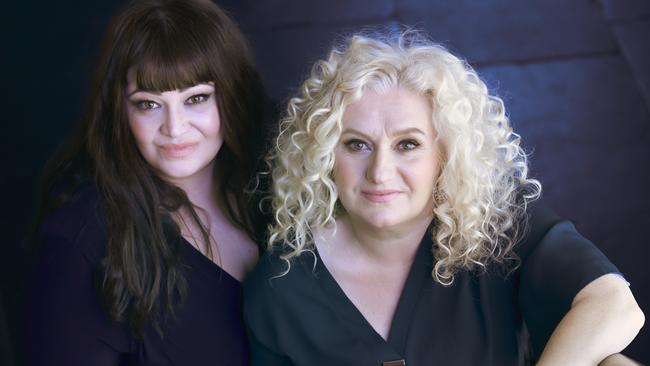 Glam squad: Katrina Milosevic with Wentworth castmate Celia Ireland. Picture courtesy Foxtel magazine/Ben King