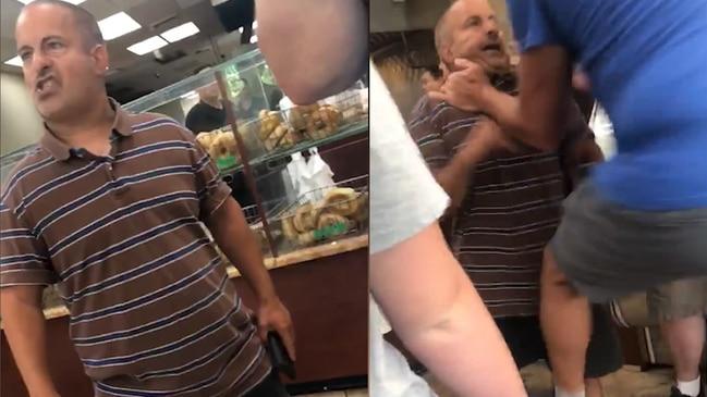 Bizarre bagel shop brawl