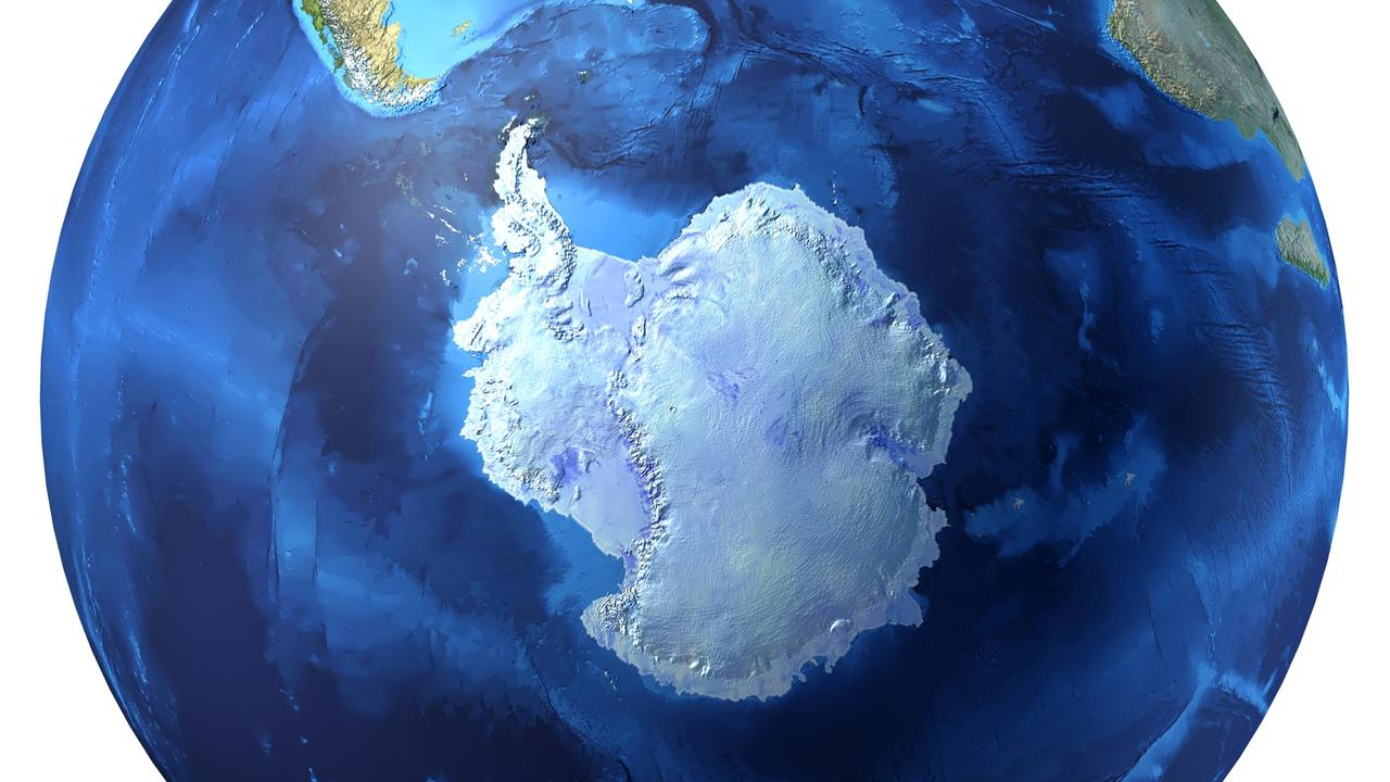 Earth globe, realistic 3D rendering. Antarctic (south pole) view.