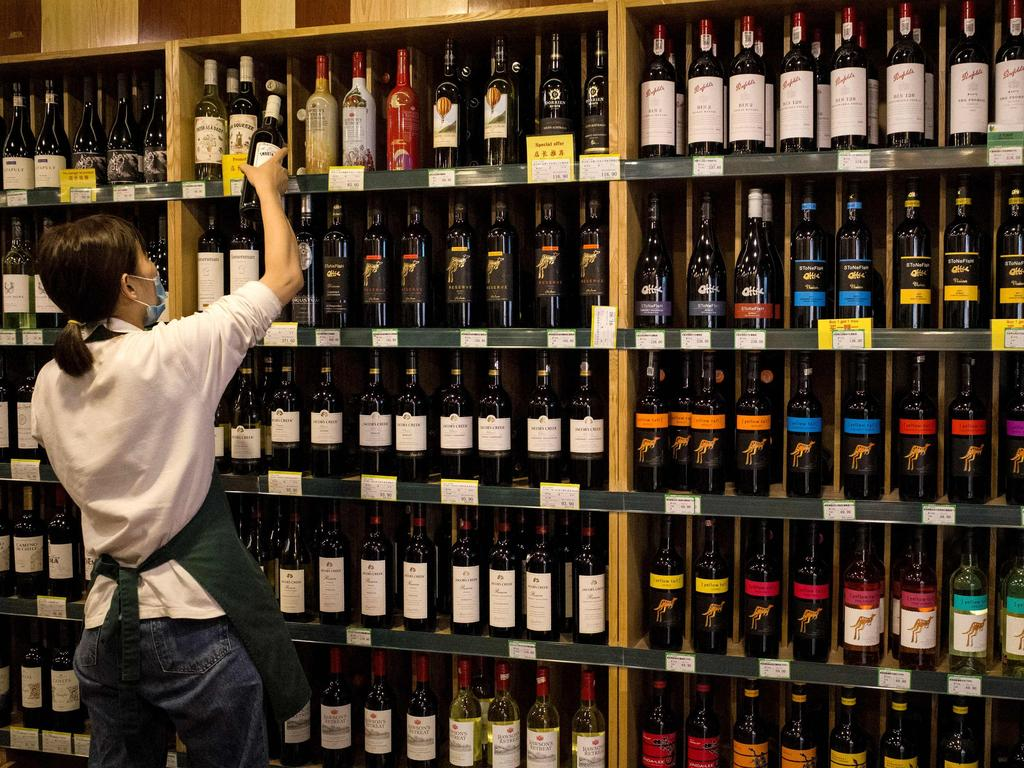 Australian-made wine for sale at a store in Beijing. Picture: Noel Celis