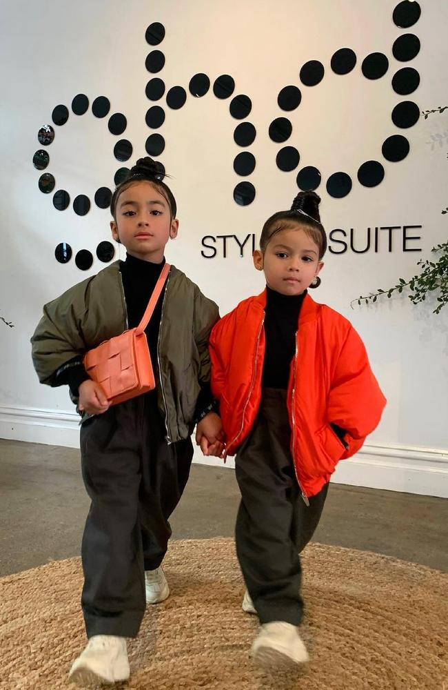 Mia and Tatiana, dubbed 'Australia's youngest influencers' attended Afterpay's Australia Fashion Week on Tuesday. Picture: Instagram/miaxtati