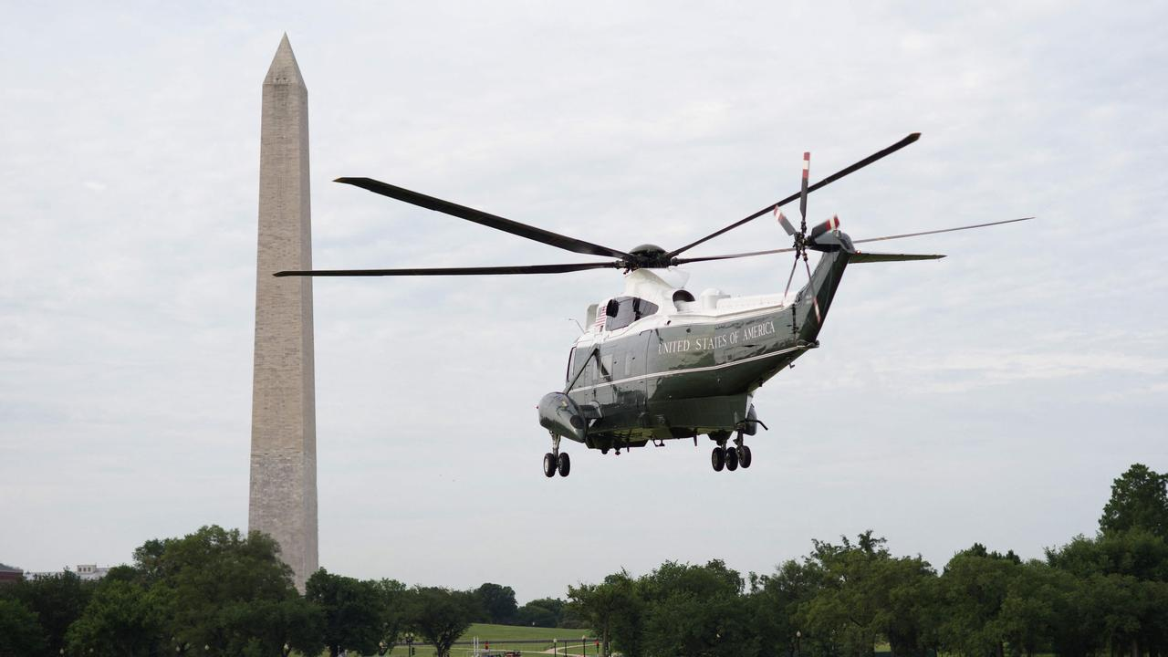 Marine One taking the Bidens away from the White House. Picture: Mandel Ngan/AFP