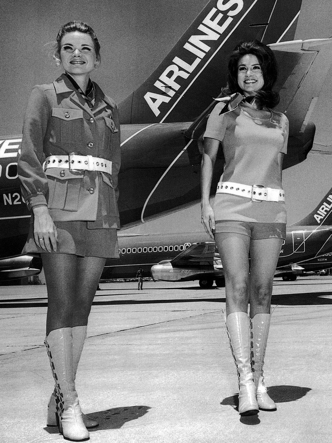 1960s : 1960s copy photo of stewardesses wearing hotpants for Southwest Airlines. USA / Aviation / Aircraft / Plane  Picture: Supplied