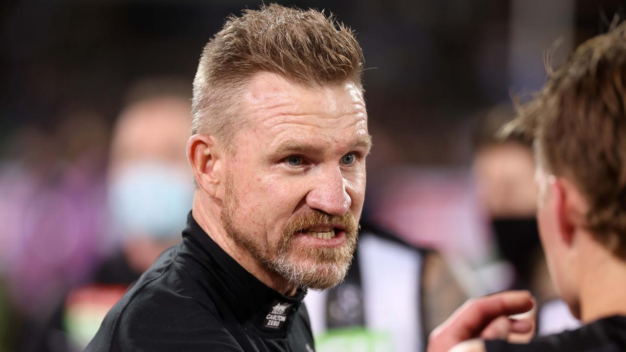 Collingwood coach Nathan Buckley is out of contract at the end of the year. (Photo by James Elsby/AFL Photos via Getty Images)