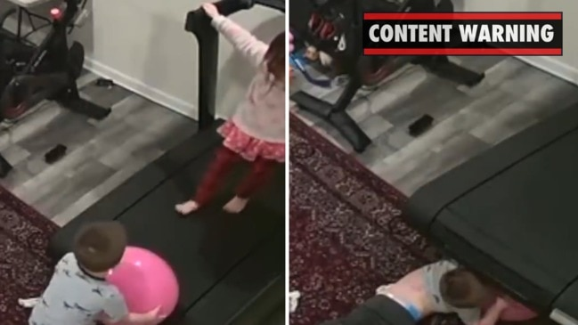 Video reveals terrifying moment baby is sucked under treadmill