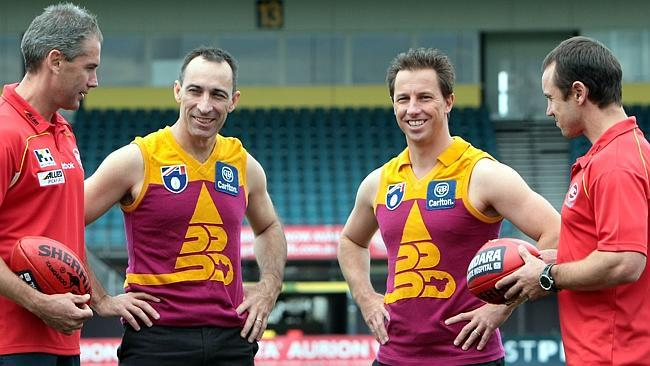 59c64750 Troy Clarke, second from left, with former Brisbane Bears teammates Marcus  Ashcroft, Corey
