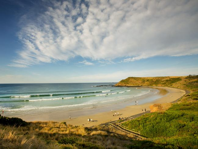 YCW BEACH This gorgeous bay on the southern shore of Phillip Island is 400m long and has a gentle swell. While the waters are gentle, there are no supervising Life Guards, so swimming isn't advised. Surfing, however, is popular here, as are beach walks, fishing, and exploring the rock pools. Picture: Visit Victoria / David Hannah