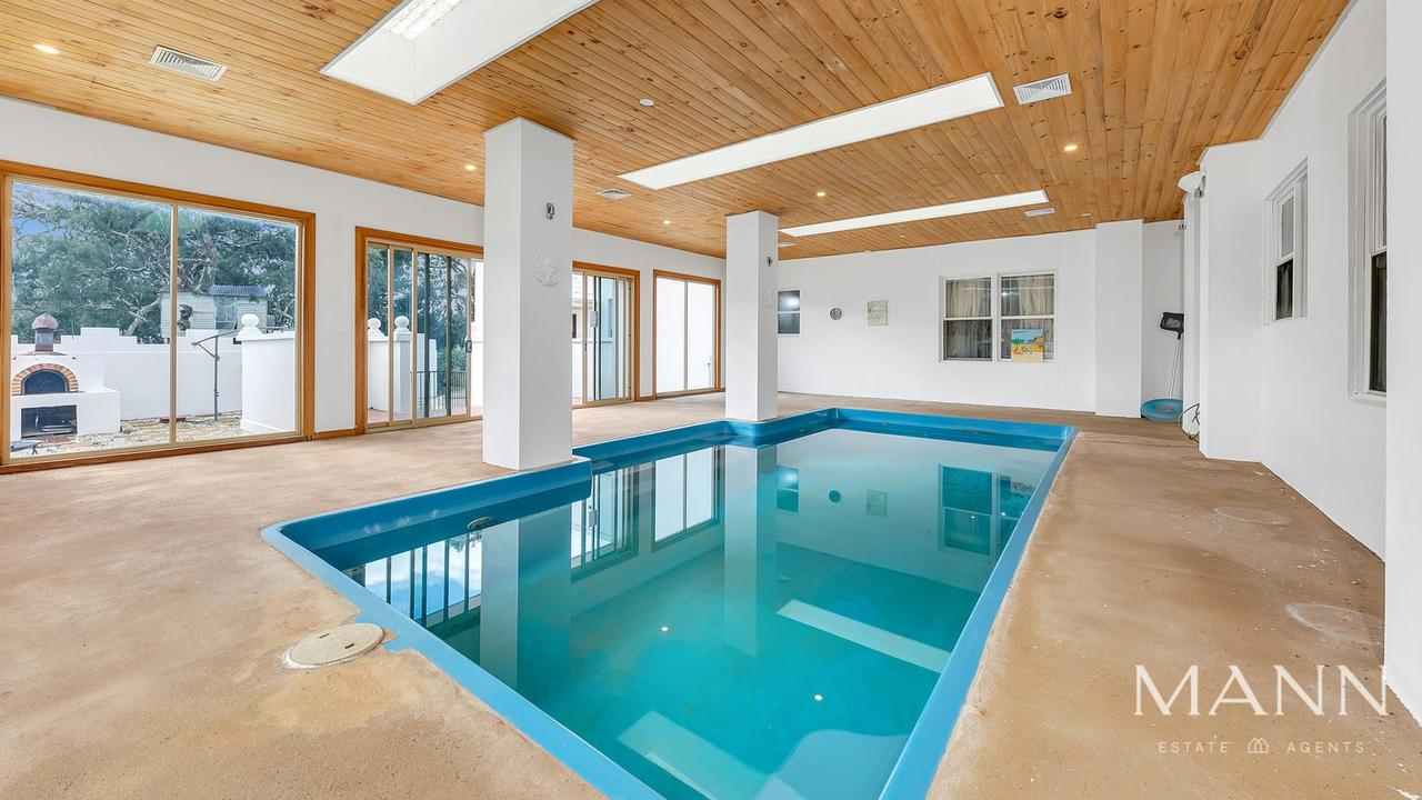 An indoor pool is up for grabs with the home.