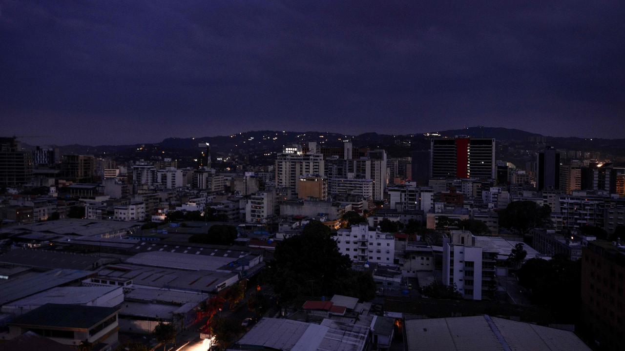 View of Chacao neighbourhood during a power cut in Caracas.