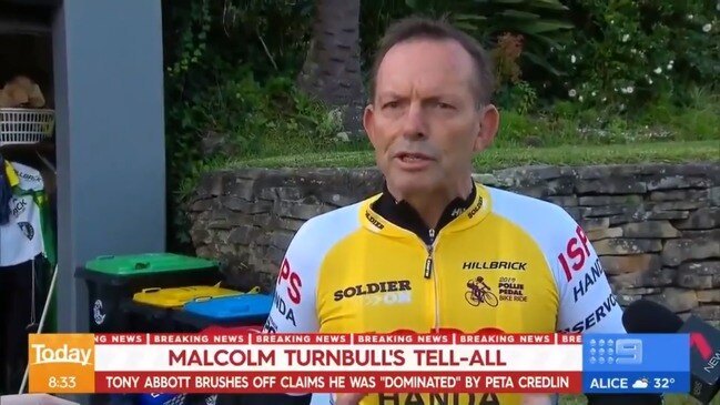 "Abbott responds to Turnbull claims that he was ""dominated"" by Peta Credlin (9 News)"