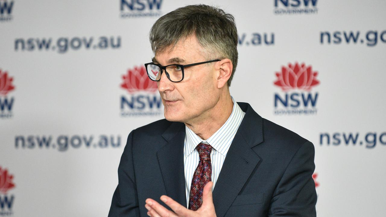 NSW Health's Jeremy McAnulty said 84.7 per cent of the state's over-16 population had received a first dose of the vaccine and 57.8 per cent had both doses as of midnight Thursday. Picture: NCA NewsWire/Flavio Brancaleone