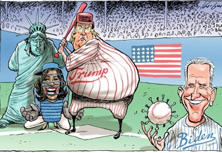 Mark Knight's cartoon of Trump, Biden and Harris