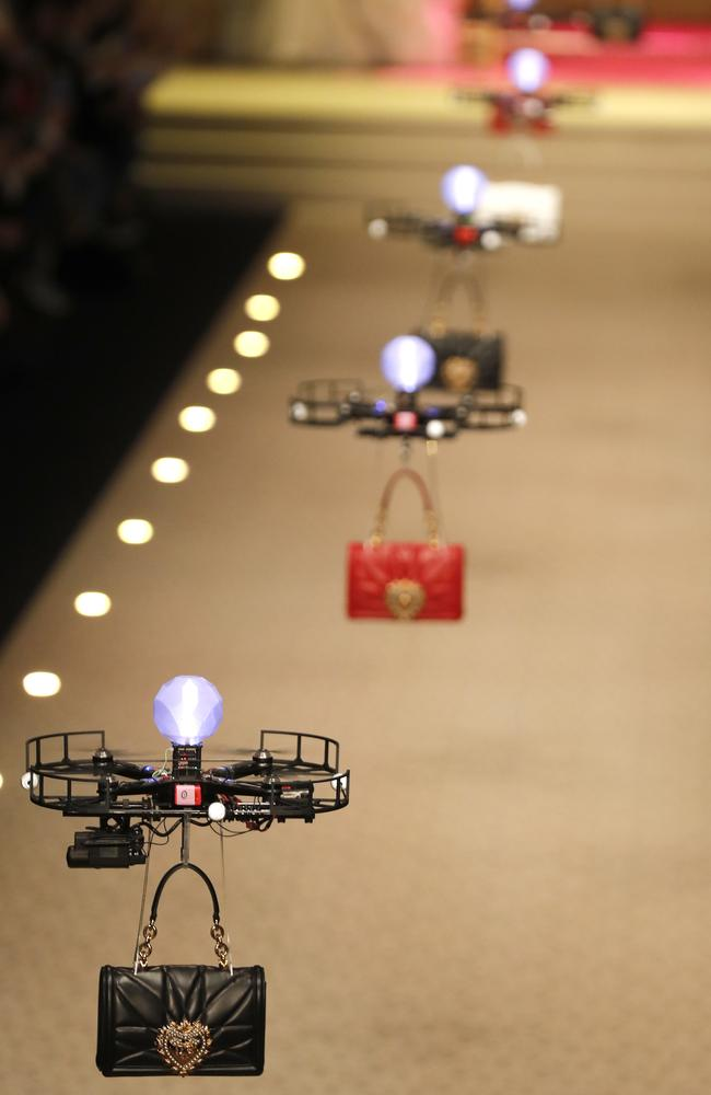 Drone 'models' carried Dolce & Gabbana's new season handbags down the runway. Picture: AP