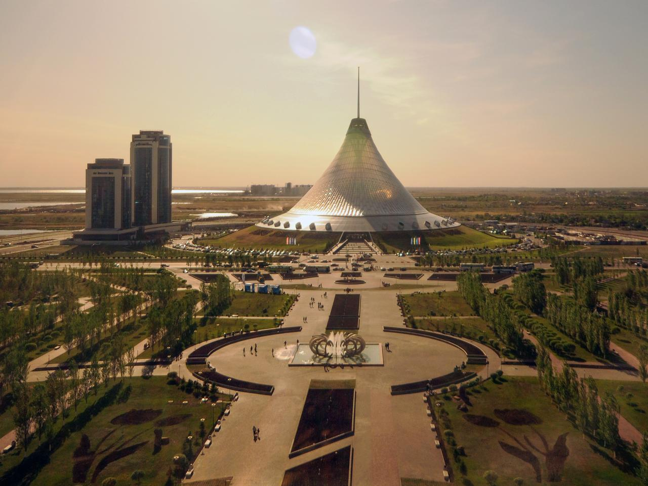 Astana, Kazakhstan - May 25, 2012: The Khan Shatyr is a large Supermarket and Event Center in Astana. The Architect of the building is Sir Norman Foster who tried to make the Transformation of that tent symboling a bit the nomad living style of the former Kazakh Nation.