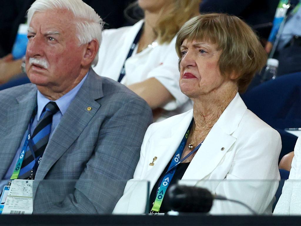 Margaret Court watches the Women'sFinal between at the 2020 Australian Open.