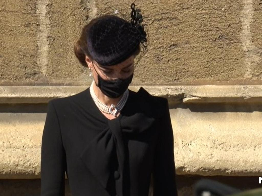 Kate pays her respects as Prince Philip's coffin passes. Picture: Channel 7