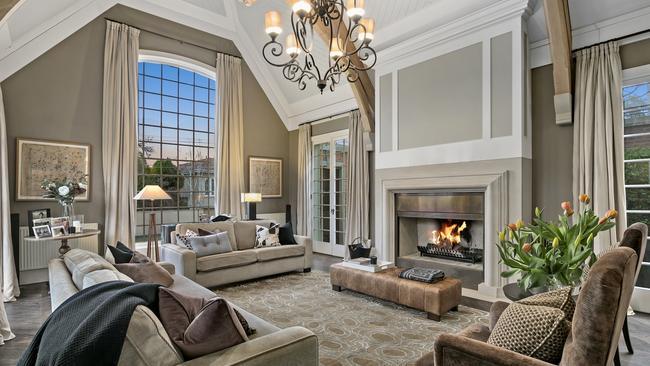 The striking formal living room.