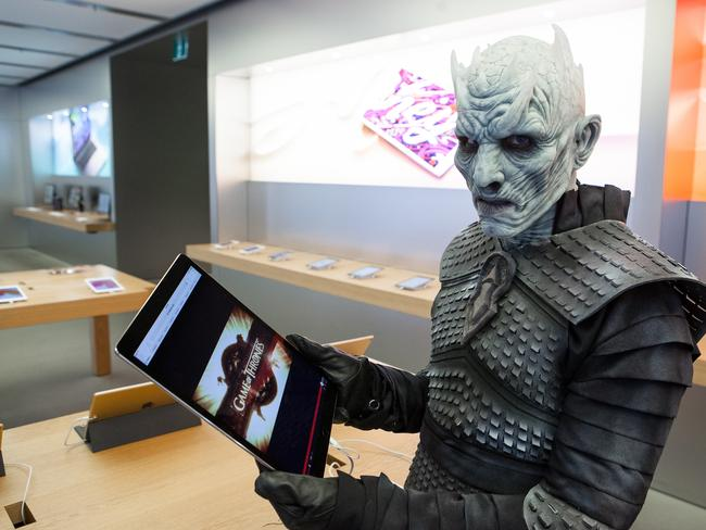Game of Thrones' notorious leader of the White Walkers, the Night King, makes a trip down under to surprise commuters and launch the Season 7 download of HBO's hit series on iTunes and Google Play. Picture: Supplied