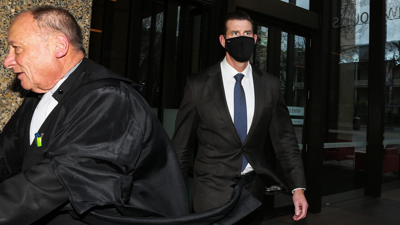 Ben Roberts-Smith (right) and his barrister Bruce McClintock SC leave the Federal Court earlier this month before the covid lockdown halted the trial. Picture: Gaye Gerard/NCA NewsWire