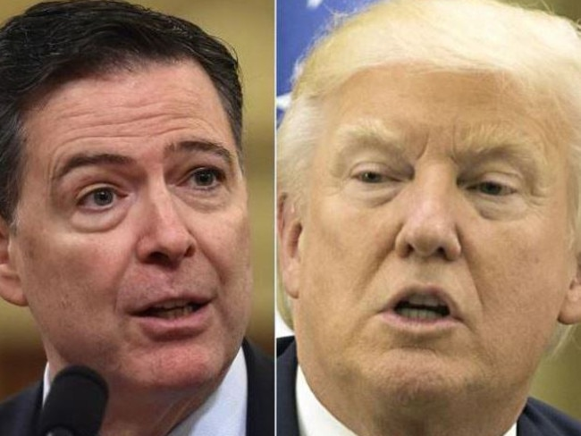 Former FBI director James Comey and Donald Trump. Picture: Supplied