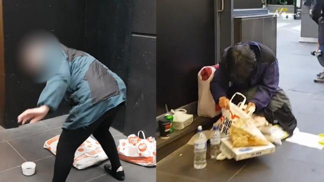 Video emerges of organised beggars' in Melbourne CBD