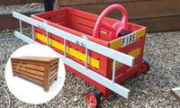 Mum turns Kmart bench into a fire truck for the kids