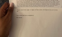Exhausted parents' apology note to neighbours goes viral