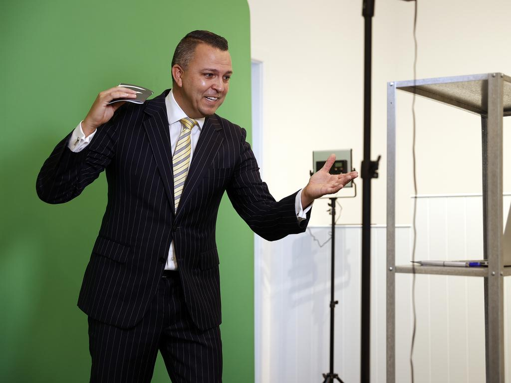 Auctioneer Clarence White received an opening bid of $1.5m at the virtual auction. Picture: Sam Ruttyn