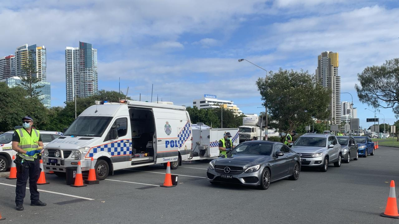 An RBT has been set up on the Gold Coast Highway. Picture: Greg Stolz