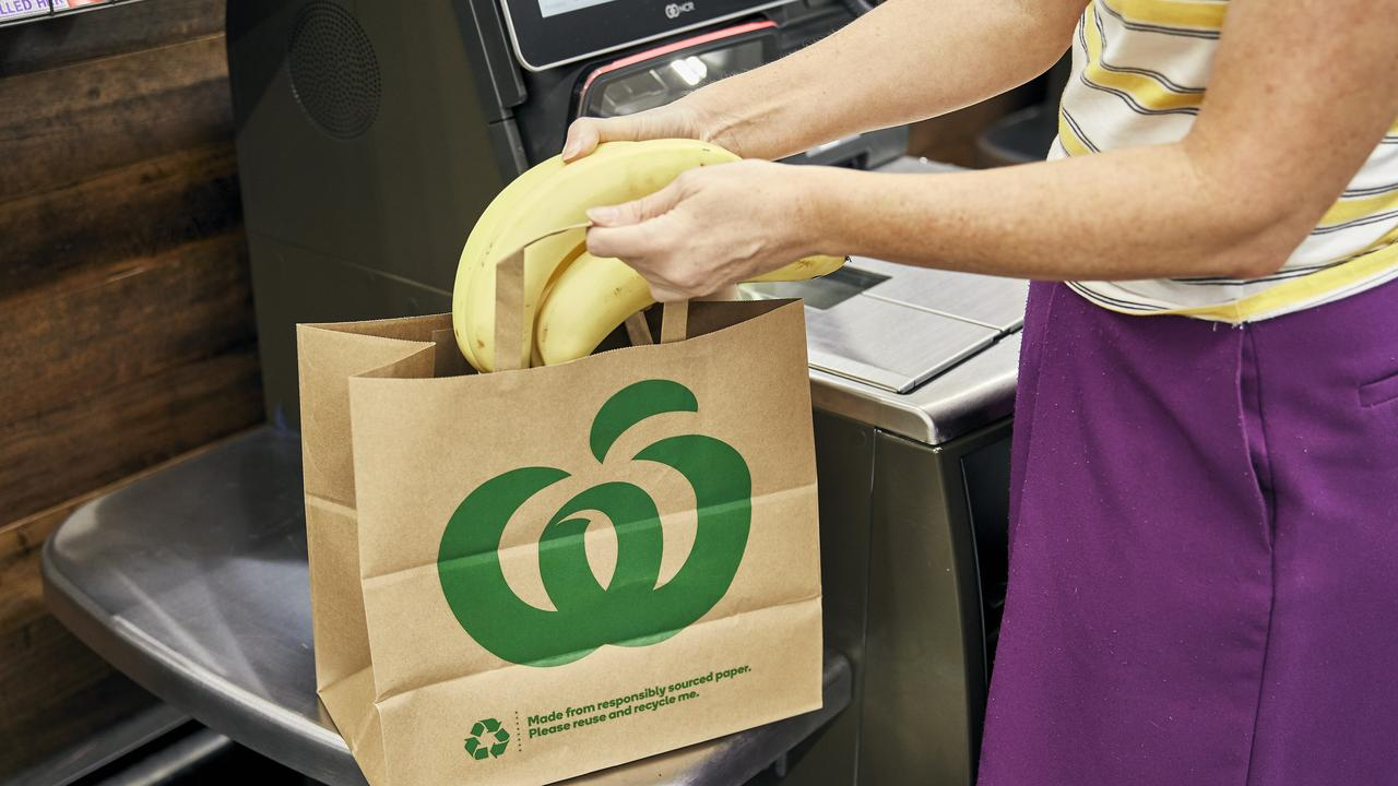 Shoppers will not be able to purchase plastic bags at check-outs from next week in 17 Woolworths stores. Picture: Woolworths