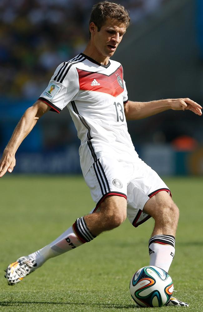 Thomas Mueller poses a huge threat to the Argentinian defence.