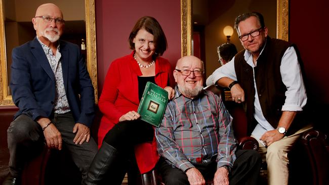 Writers Tom and Meg Keneally (centre) are the writers of the Monsarrat Series which is being turned into a new TV drama by December Media. Creative Director Tony Wright, and head of drama George Adams, flank the writers. Picture: Nicole Cleary