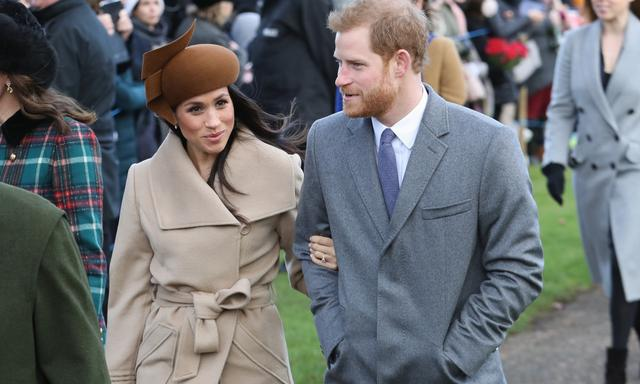KING'S LYNN, ENGLAND - DECEMBER 25: Meghan Markle and Prince Harry attend Christmas Day Church service at Church of St Mary Magdalene on December 25, 2017 in King's Lynn, England. (Photo by Chris Jackson/Getty Images) ***BESTPIX***