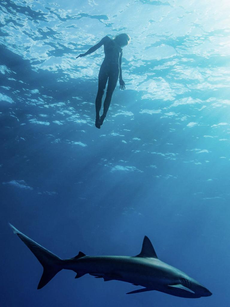 Model Marisa Papen went swimming naked with sharks. Picture: Benjamin Ono/Real Press/australscope