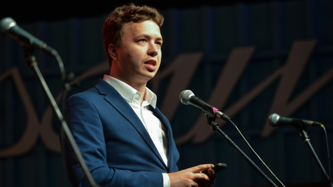 Journalist and activist Roman Protasevich was arrested after the commercial plane he boarded was diverted to land in Minsk by Belarusian authorities. Picture: Getty Images.