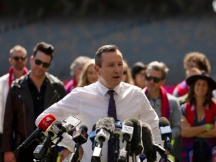PERTH, AUSTRALIA - SEPTEMBER 23: WA Premier Mark McGowan speaks during a media opportunity ahead of the 2021 AFL Grand Final at Optus Stadium on September 23, 2021 in Perth, Australia. (Photo by Will Russell/Getty Images)