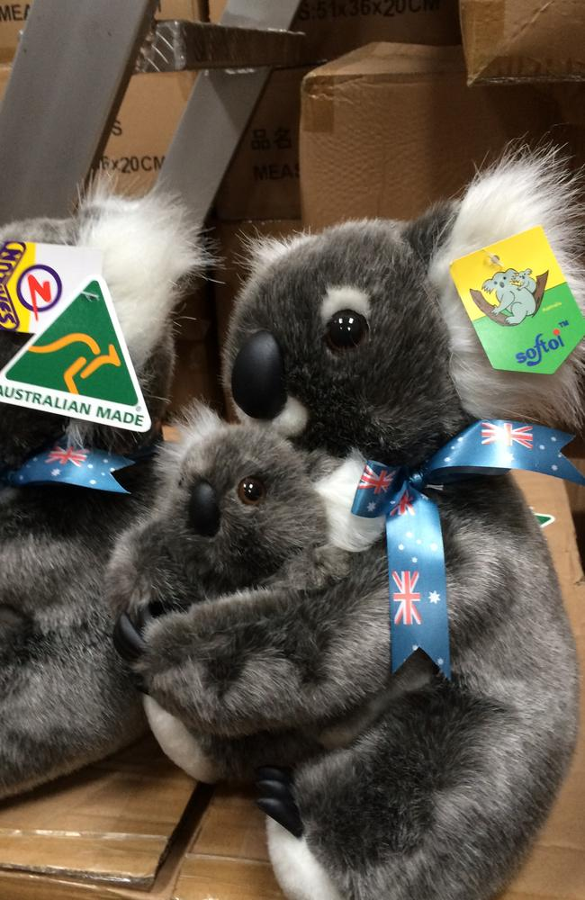 Identical, both koalas made in China, but the one on the left has had its Chinese 'Softoi' tag removed and replaced with the iconic Australian Made triangular tag. Picture: GJ