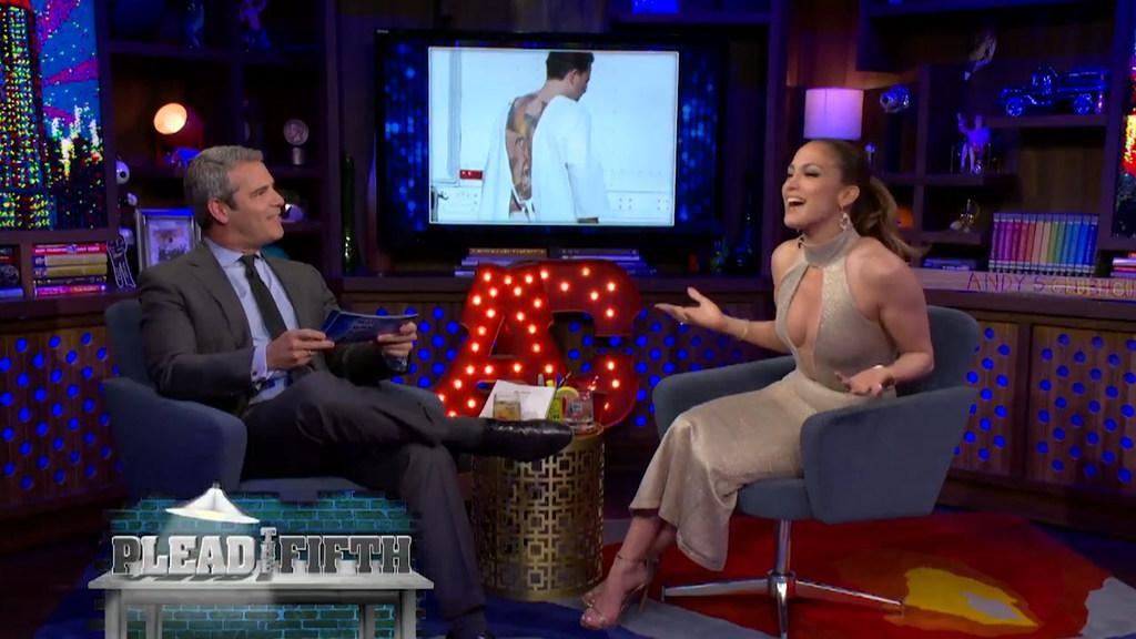 Jennifer Lopez says what she really thinks of her ex Ben Affleck's large inking during an appearance on Watch What Happens Live!