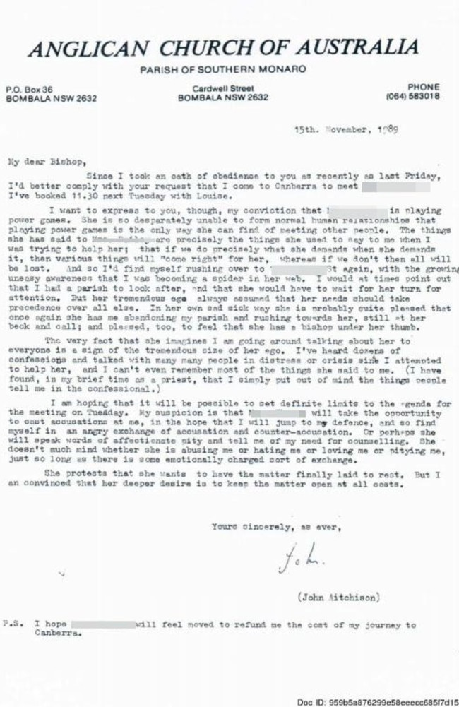 Letter from John Aitchison to the Anglican bishop discrediting Georgie's mother who had made allegations of his sexual abuse.