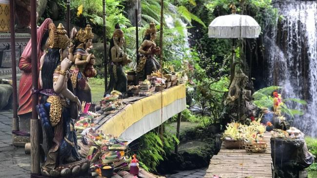 Statues of deities at Taman Beji Griya Waterfall, in Kabupaten Badung - Pic Penny Watson