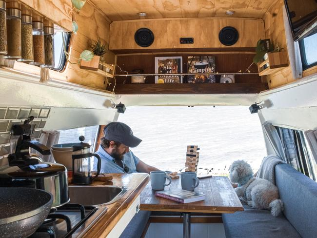 5/18Brisbane, QLD 'Bilbo' is a lovingly restored, completely self-sufficient, vintage camper van. His custom built interior is made primarily from up-cycled materials and provides all the necessities and comforts for free camping in Australia. Camplify