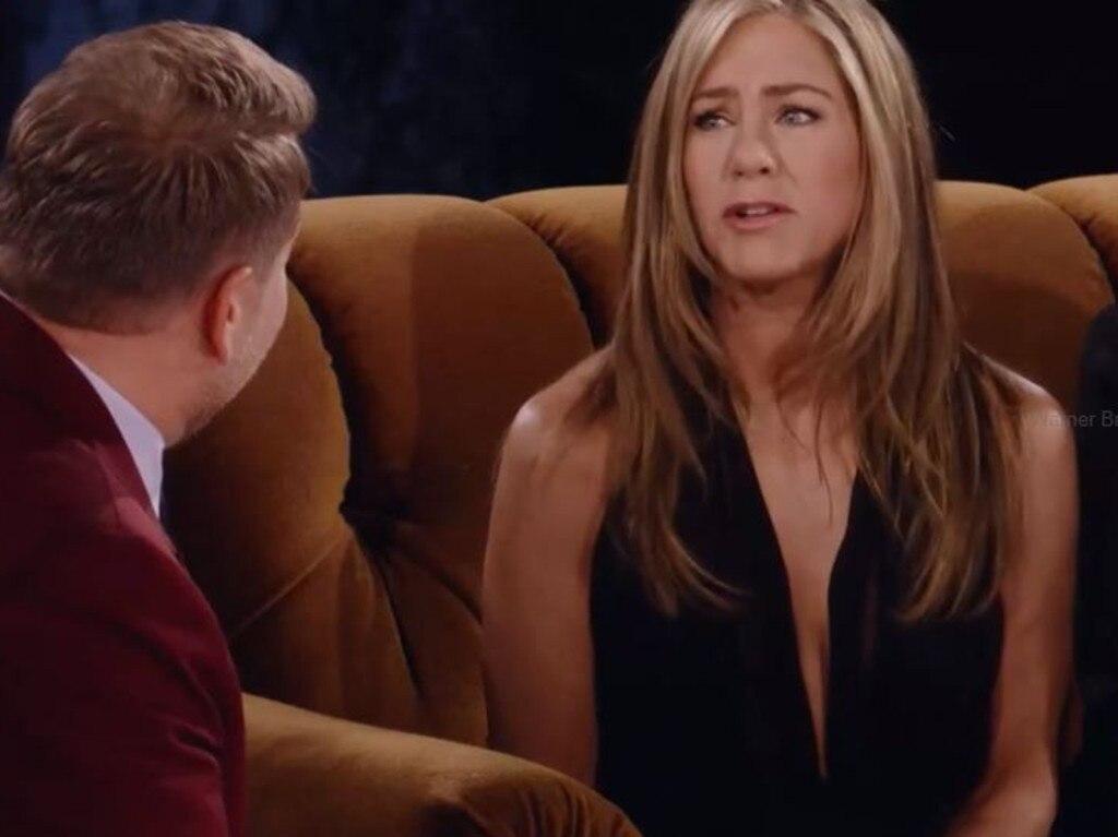 Aniston spoke to host James Corden about their forbidden love.