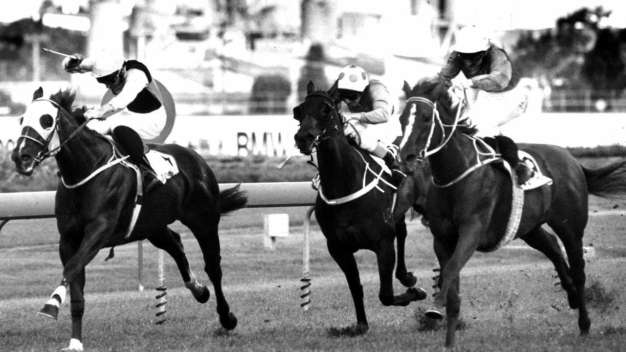 Racehorse Burst ridden by jockey Shane Dye winning race 5, the Golden Slipper Stakes at Rosehill in Sydney, 11/04/1992. Pic News Ltd.