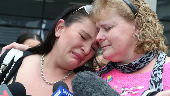Marlene Locke (right) and Ebony McGregor, a close friend of her murdered daughter Sherelle, outside Brisbane Supreme Court last year.