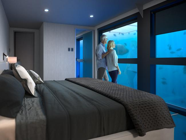 6. CRUISE WHITSUNDAYS REEFSUITES, QUEENSLAND Sleep with the fishes luxury style on the Great Barrier Reef in Australia's first underwater hotel. Two Reefsuites are suspended underneath a pontoon 40 nautical miles from Airlie Beach where guests can watch the live action show from their double bed and sing Sebastian's Little Mermaid hit, Under The Sea, in their underwater shower. If you miss out on a reefsuite the pontoon also has a glamping option where you can sleep under the stars in custom built canopies.