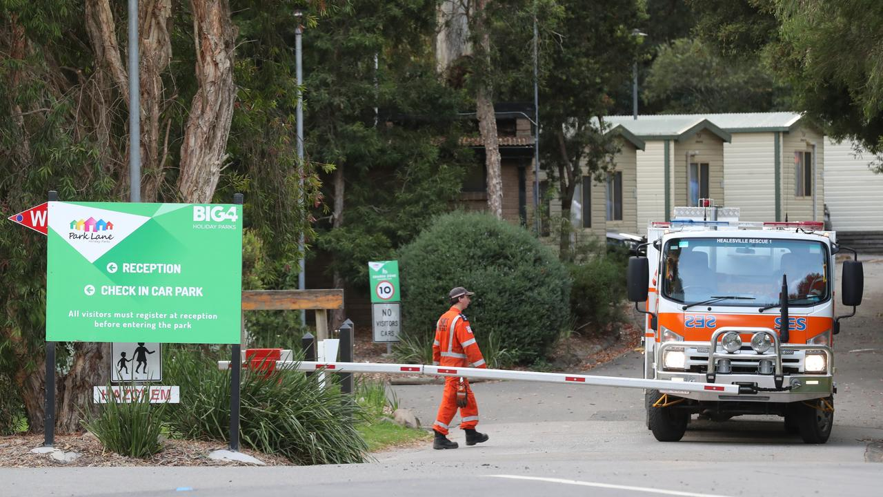 An SES volunteer at the scene on Saturday morning. Picture: David Crosling