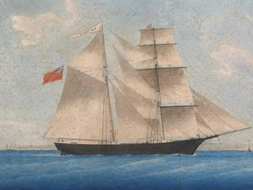 An 1861 painting of the Mary Celeste whose crew mysteriously vanished in 1872. Public domain